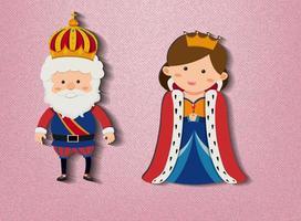 König und Königin Zeichentrickfigur auf rosa Hintergrund vektor
