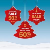 Frohe Weihnachten und ein gutes neues Jahr Rabatt Etiketten vektor