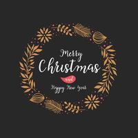 Weihnachtsbeschriftungsentwurf mit Kranzdekoration