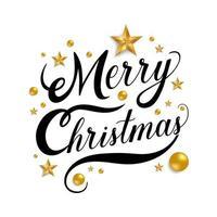 Frohe Weihnachten Schriftzug mit goldenen Sternen und Kugeln