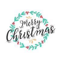 jul bokstäver design med krans dekoration