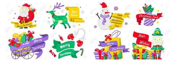 Weihnachtselemente und Embleme gesetzt