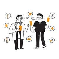 Zwei Ärzte diskutieren über die Behandlung der Krankheit vektor