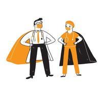 läkare och sjuksköterska som superhjältar vektor
