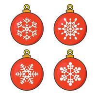 röda julgranskulor med snöflingor