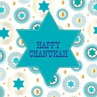 glücklicher chanukah jüdischer Stern auf gemustertem Hintergrund vektor