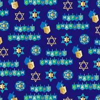 lyckligt chanukah mönster med dreidels och stjärnor på blått vektor