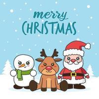 Weihnachtskarte mit Zeichnern im Schnee