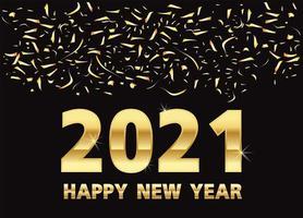 Frohes neues Jahr, goldene Metallnummern auf Schwarz