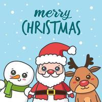 kawaii Weihnachtskarte mit Weihnachtsmann und Freunden