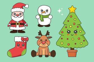 weihnachtselement kawaii set