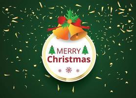 Frohe Weihnachten Rahmen auf Grün mit Konfetti vektor