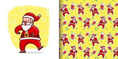 Weihnachten niedlich verrückt Santa Tanz Cartoon Muster vektor