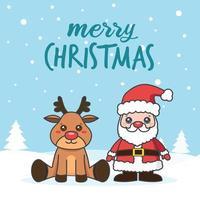 Weihnachtskarte mit Weihnachtsmann und Hirsch im Schnee
