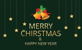 Frohe Weihnachten und hängende goldene Sterne auf Grün