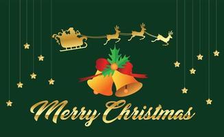 Frohe Weihnachten und Santa im Schlitten auf Grün vektor