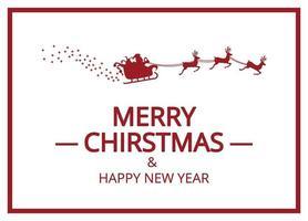 Frohe Weihnachten und Santa im Schlitten in Rot und Weiß vektor