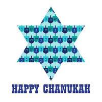 glückliche Chanukka-Sterngrafik mit Dreideln vektor