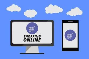 shopping online på webbplatsen med mobil, marknadsföringskoncept vektor