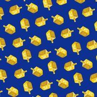 guld dreidel mönster på blått vektor