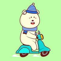 Cartoon niedlichen Eisbären reitet Roller Cartoon