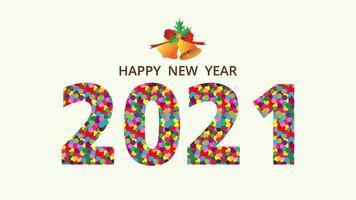 Frohes neues Jahr 2021 bunte Punkte Typografie