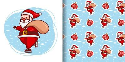Weihnachtsniedlicher Weihnachtsmann mit Schlittschuhkarikaturmuster vektor