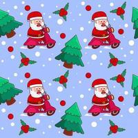 nahtloses Muster mit niedlichem Weihnachtsmann-Roller