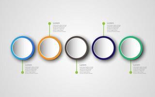 tidslinje infographics designmall med 5 alternativ, processdiagram