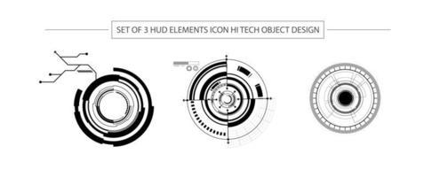 abstrakter Satz von 3 Hud-Elementen, High-Tech-Design vektor