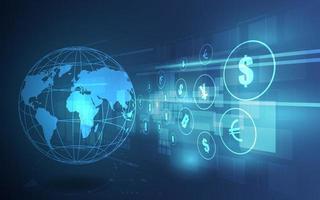 globaler High-Tech-Geldtransfer vektor