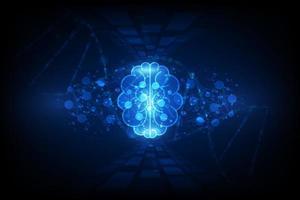 abstrakt mänsklig hjärna på teknikbakgrund vektor