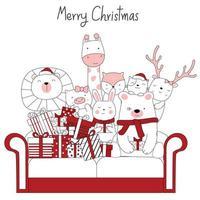 Weihnachtsentwurf mit niedlichen Tieren und Geschenken auf Sofa