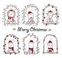 juldesign med söta djur i blommiga ramar