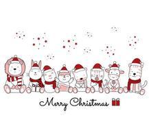 Weihnachtsentwurf mit niedlichen Tieren