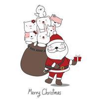 julhälsning med santa och säck med söta djur vektor