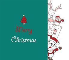 jul gratulationskort med santa och söta vänner vektor