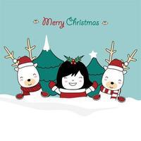 julhälsning med söta renar och flicka vektor