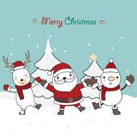 Weihnachtsgruß mit niedlichen Charakteren in der Winterszene vektor
