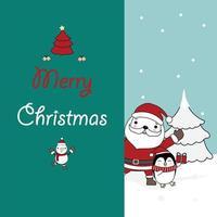jul gratulationskort med santa och baby pingvin vektor