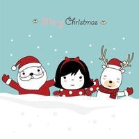 Weihnachtsgrußkartenentwurf mit niedlichen Zeichen