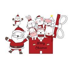 Weihnachtsgruß mit Weihnachtsmann und niedlichen Tieren im Geschenk vektor