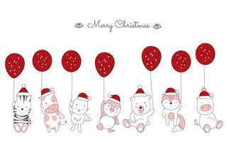 Weihnachtsgruß mit niedlichen Tieren, die Luftballons halten vektor