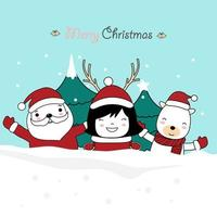Weihnachtsgrußkartenentwurf mit niedlichen Zeichen vektor