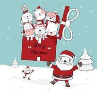 Weihnachtsgruß mit Weihnachtsmann, der Geschenk mit niedlichen Charakteren hält vektor