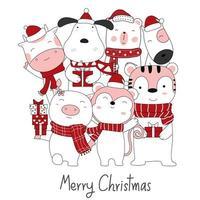 Weihnachtsentwurf mit niedlichen Tieren und Geschenkboxen