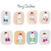 Weihnachtsgruß mit niedlichen Tierbabys in Weihnachtsmützen vektor