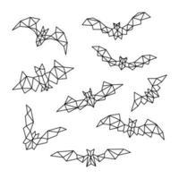uppsättning polygonala fladdermöss. vektor