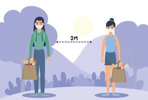 kvinnor med ansiktsmasker som övar social distansering utomhus vektor