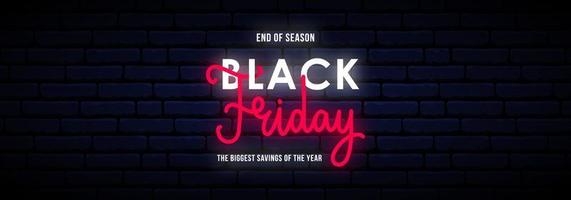 schwarzer Freitag lange horizontale Neon Banner.
